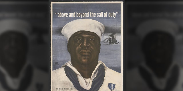 The image of Doris Miller was used in a 1943 U.S. Navy recruitment poster. (David Stone Martin/Library of Congress)