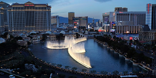 In this April 4, 2017, file photo, the fountains of Bellagio erupt along the Las Vegas Strip in Las Vegas. (AP Photo/John Locher, File)