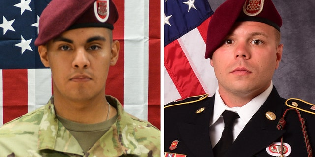 Military officials identified the two soldiers killed as 21-year-old Pfc. Miguel A. Villalon of Joliet, Illinois, left; and 29-year-old Staff Sgt. Ian P. McLaughlin of Newport News, Virginia. Both soldiers were assigned to 307th Brigade Engineer Battalion, 3rd Brigade Combat Team, 82nd Airborne Division, Fort Bragg, North Carolina. (82nd Airborne Division)