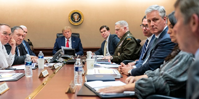 President Trump and administration officials monitored the Iran strikes in the White House Situation Room on Tuesday night.