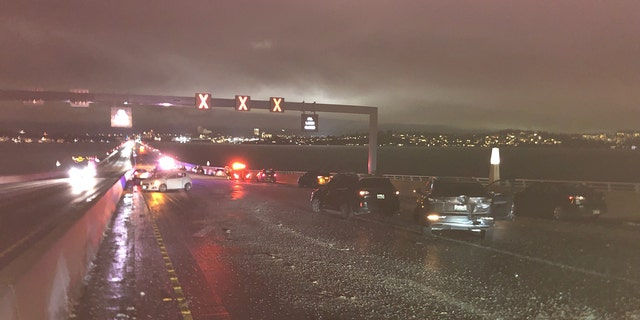 A total of 30 cars were involved in a series of crashes on an icy bridge in the Seattle area during the Monday evening rush hour.