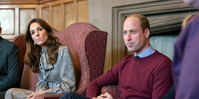 Britain's Prince William and Kate, Duchess of Cambridge speak during a visit to City Hall in Bradford to join a group of young people from across the community to hear about life in the city in Bradford, England, Wednesday, Jan. 15, 2020.