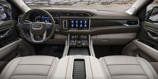 The Yukon Denali's dashboard design is unique in the lineup.
