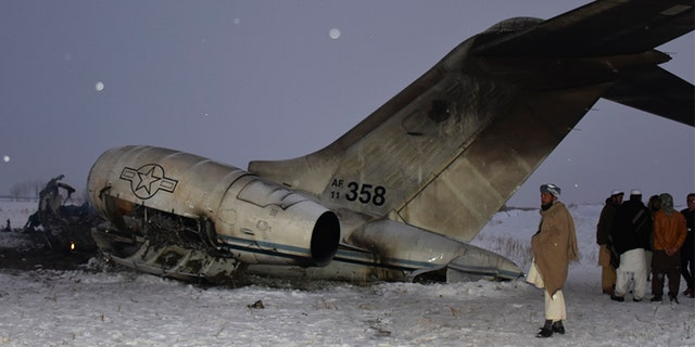 A wreckage of a U.S. military aircraft that crashed in Ghazni province, Afghanistan, is seen Monday. (AP)
