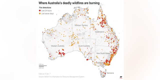 Map locates detected fires in Australia over the last 24 hours and last 7 days.(Credit: AP Photo/Rick Rycroft)