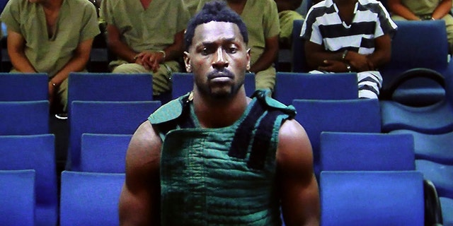 NFL free agent Antonio Brown appears at the Broward County Courthouse in Fort Lauderdale, Fla., via video link Friday, Jan. 24, 2020. Brown was granted bail on Friday after spending the night in a Florida jail. T (Amy Beth Bennett/South Florida Sun Sentinel via AP, Pool)