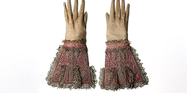 The elaborate pair of gloves said to have been worn by Charles I at his execution.