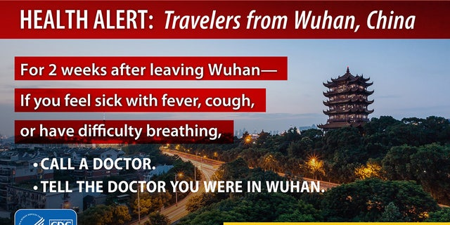 "The ""health alert"" directed at travelers from Wuhan, China instructs the reader to consult with a doctor if they鈥檝e suffered from a fever, cough or difficult breathing in within two weeks of leaving the now-quarantined city."