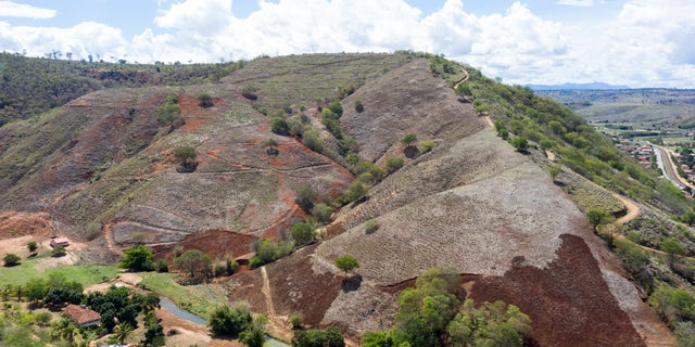 Aerial view of a former well-preserved hill, now deforested by deforestation in the village Aimorés, near the Instituto Terra (about 500 meters away) on November 22, 2019 in Aimorés, Brazil.