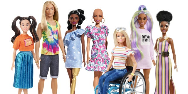 Parent company Mattel recently unveiled its 2020 Fashionistas line, featuring Barbie dolls with vitiligo and no hair, as well as a doll with dark skin and a golden prosthetic leg, and a Ken doll with long, flowing hair.