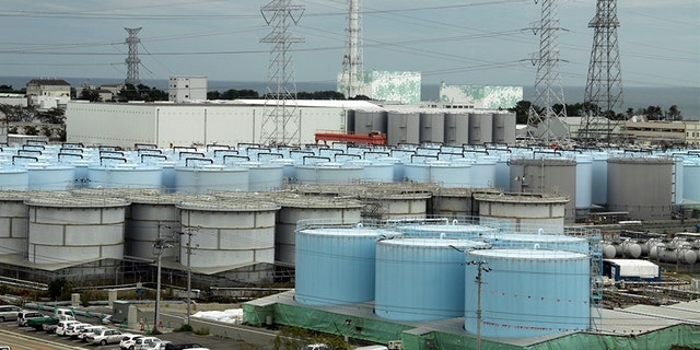 An ever-growing amount ofcontaminated, treated but still slightly radioactive, waterat the wreckedFukushima Dai-ichi nuclear plant is stored in about 900 huge tanks, including those seen in this photo taken during a plant tour in 2017. (AP)