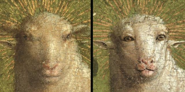 The Ghent Altarpiece's Lamb of God, seen before (left) and after the restoration. (The Royal Institute for Cultural Heritage)