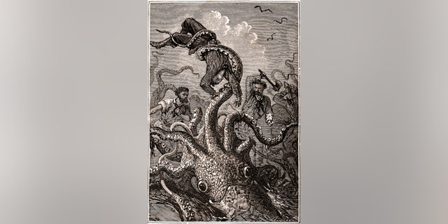 """The giant squid has long been a subject of horror lore. In this original illustration from Jules Verne's """"20,000 Leagues Under the Sea,"""" a giant squid grasps a helpless sailor. (Credit: Alphonse de Neuville)"""