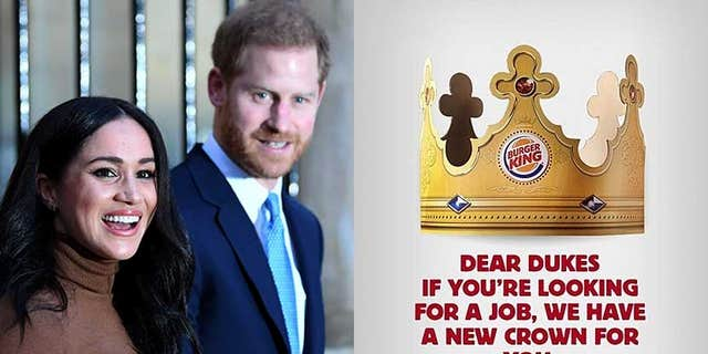 Westlake Legal Group harryMeghanBUrgerKingLotsofCredits The new 'Burger King'? Prince Harry offered fast-food job after stepping back from royal duties Michael Bartiromo fox-news/world/personalities/british-royals fox-news/food-drink/food/fast-food fox news fnc/food-drink fnc article 7a6d1ca4-b194-5eee-b1c0-4f8994b47247