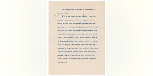Westlake Legal Group jfk-letter-1 JFK handwritten speech announcing his run for president set to go up for auction fox-news/politics fox-news/columns/digging-history fox news fnc/science fnc Chris Ciaccia article 13909b27-a81b-5f85-b9b7-2a49bf929a7a
