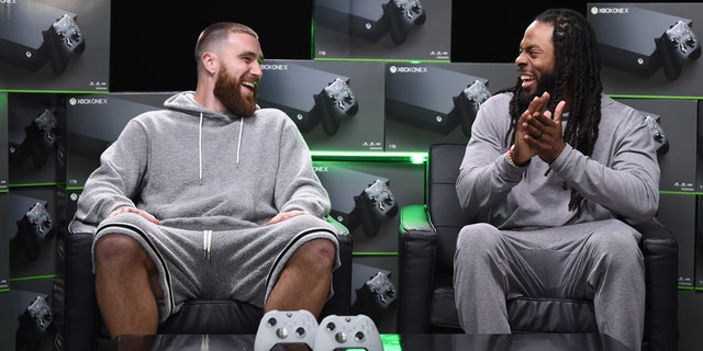 MIAMI, FLORIDA - JANUARY 28: Travis Kelce and Richard Sherman join the annual Xbox Sessions: Game Before the Game at M3 Studios on January 28, 2020 in Miami, Florida. (Photo by Dimitrios Kambouris/Getty Images for Xbox)
