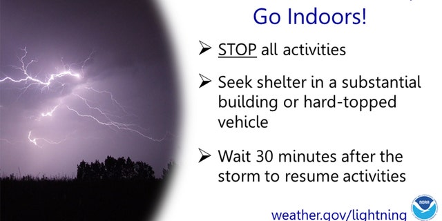 Lightning safety tips from the National Weather Service.