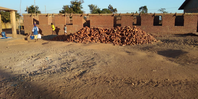 The early stages of the new indoor classroom, following the donations raised in part by White House staffer Carolina Hurley.