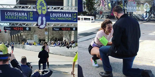 Morgan Pittman, 27, was runningin the Louisiana Marathon in Baton Rouge on Sunday when she crossed the finish line to an incredible sight.<br>