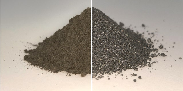 On the left side of this before and after image is a pile of simulated lunar soil, or regolith; on the right is the same pile after essentially all the oxygen has been extracted from it, leaving a mixture of metal alloys. Both the oxygen and metal could be used in future by settlers on the Moon. (Credit: ESA)
