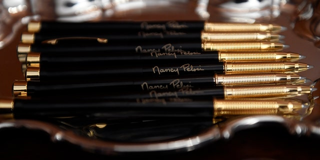 Westlake Legal Group pelosi-pens Pelosi hands out commemorative pens as House transmits Trump impeachment articles to Senate fox-news/columns/fox-news-first fox news fnc/us fnc article 6fa42392-de2d-5fbb-8415-b43d654e4958