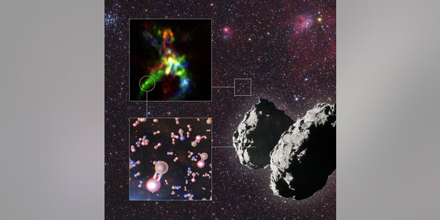 This infographic shows the key results from a study that has revealed the interstellar thread of phosphorus, one of life's building blocks. Thanks to ALMA, astronomers could pinpoint where phosphorus-bearing molecules form in star-forming regions like AFGL 5142. (ALMA (ESO/NAOJ/NRAO), Rivilla et al.; ESO/L. Calçada; ESA/Rosetta/NAVCAM; Mario Weigand, SkyTrip.de)