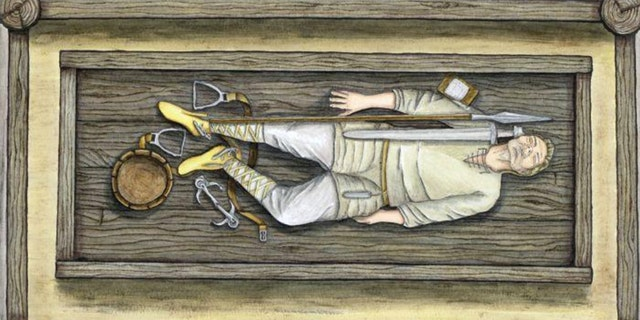 Artist's illustration of one of the graves.