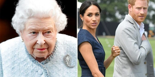 Queen Elizabeth II (left) has not released a statement since the Duke and Duchess of Sussex (right) gave their bombshell interview to Oprah Winfrey.