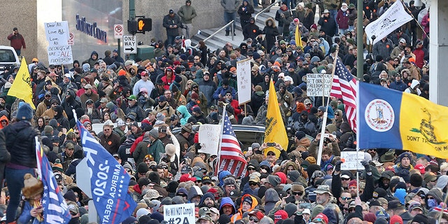 Second Amendment supporters gather on Bank Street outside the Virginia state capitol on Monday. (AP/The Virginian-Pilot)
