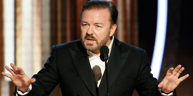 This image released by NBC shows host Ricky Gervais speaking at the 77th Annual Golden Globe Awards at the Beverly Hilton Hotel in Beverly Hills, Calif., on Sunday, Jan. 5.