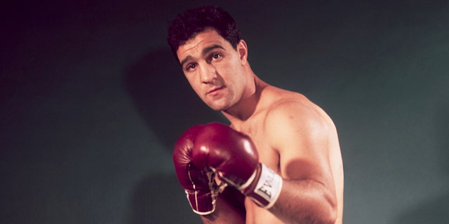 Boxer Rocky Marciano in a boxing stance. (Getty)