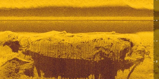 Sonar image of the centuries-old boat discovered in the Vistula.
