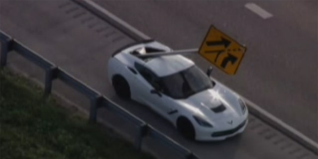 Westlake Legal Group sign Chevrolet Corvette impaled by flying Florida highway sign Gary Gastelu fox-news/us/us-regions/southeast/florida fox-news/auto/make/chevrolet fox-news/auto/attributes/safety fox-news/auto/attributes/performance fox news fnc/auto fnc article 262db3c0-4c30-5a73-8b23-baf9136d6dce
