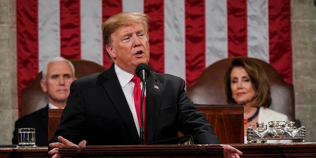 President Donald Trump gives his State of the Union address to a joint session of Congres in 2019 at the Capitol. (Doug Mills/The New York Times via AP, Pool)