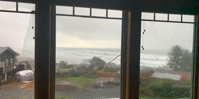 Damage to a home after a tornado touched down in Manzanita, Ore. on Tuesday.