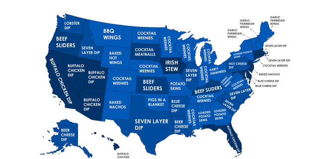 According to the results, whichcompiled the most popular Google searches for each state across the country, as well as the top 20 largest cities, the Super Bowl is a day of eating meat, dip and more meat.