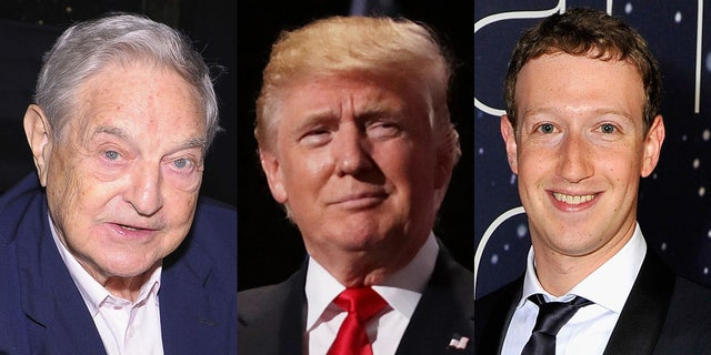 George Soros, President Trump and Facebook CEO Mark Zuckerberg are seen above.