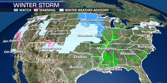 Winter storm watches, warnings, and advisories stretch across the middle of the country.