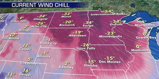 Wind chills well below zero were reported in parts of the Midwest on Thursday.