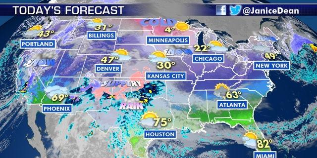 The forecast across the U.S. on Jan. 16, 2020.