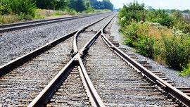 Family taking photos on railroad tracks narrowly escapes train in terrifying video