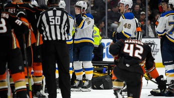 St. Louis Blues' Jay Bouwmeester collapses on bench with cardiac episode, NHL game postponed