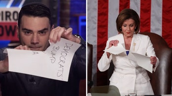 Ben Shapiro mimics Pelosi by ripping up Democratic talking points