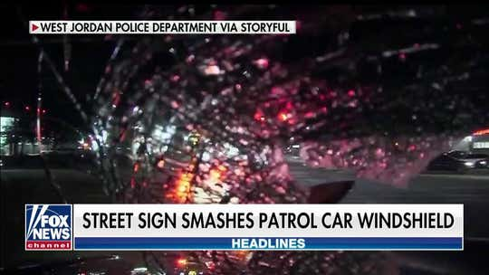 Utah officer's windshield shattered by traffic sign launched by errant driver