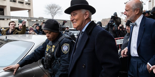 Roger Stone arrives at federal court in Washington, Thursday, Feb. 20. Documents released by the Justice Department on Friday show former Trump officials telling federal investigators that Stone had spoken with WikiLeaks prior to a massive dump of emails the were damaging to Hillary Clinton in July 2016.