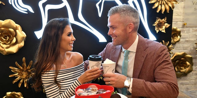'Million Dollar Listing: New York' stars, Ryan Serhant and Emilia Bechrakis Serhant, shop for Valentine's Day gifts at the GODIVA café located in NYCs Flatiron district on February 10, 2020 in New York City.