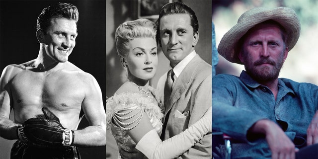 "Left to right: Kirk Douglas in ""Champion,"" Douglas and Lana Turner in ""The Bad and the Beautiful"" and Douglas as Vincent van Goh in ""Lust for Life."""