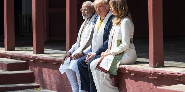 U.S. President Donald Trump, with first lady Melania Trump, and Indian Prime Minister Narendra Modi, tour Gandhi Ashram, Monday, Feb. 24, 2020, in Ahmedabad, India. (AP Photo/Alex Brandon)