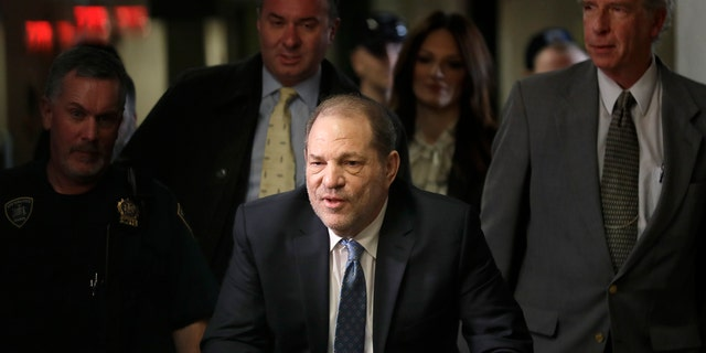 Harvey Weinstein arrives at a Manhattan courthouse for jury deliberations in his rape trial in February.
