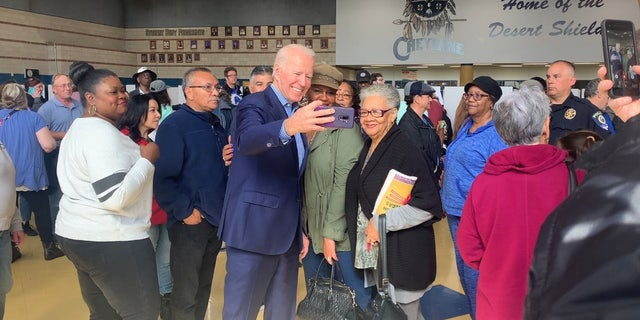 Former Vice President Joe Biden visits a caucus precinct in Henderson, Nevada, on Feb. 22, 2020